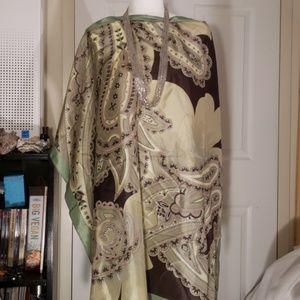 NWT Ann Taylor green brown silk paisley scarf